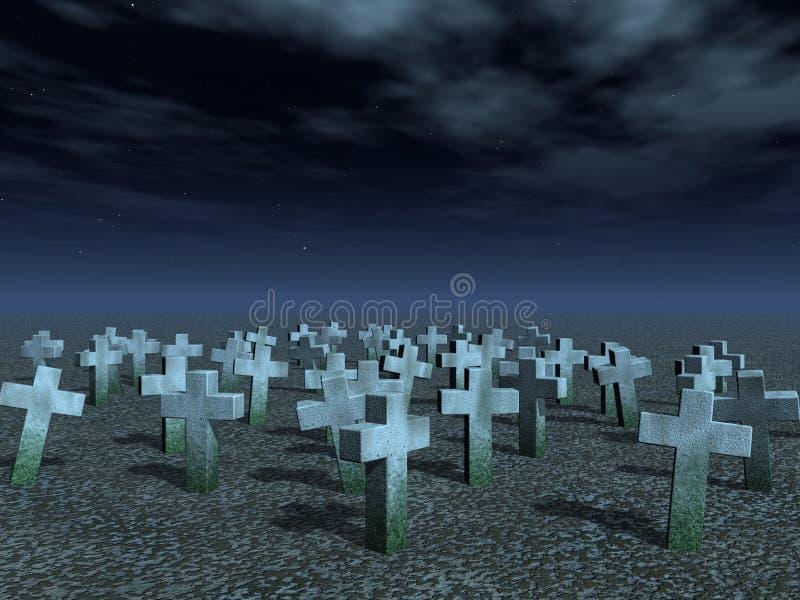 Cemetary. Stone crosses under dark night sky - 3d illustration stock illustration