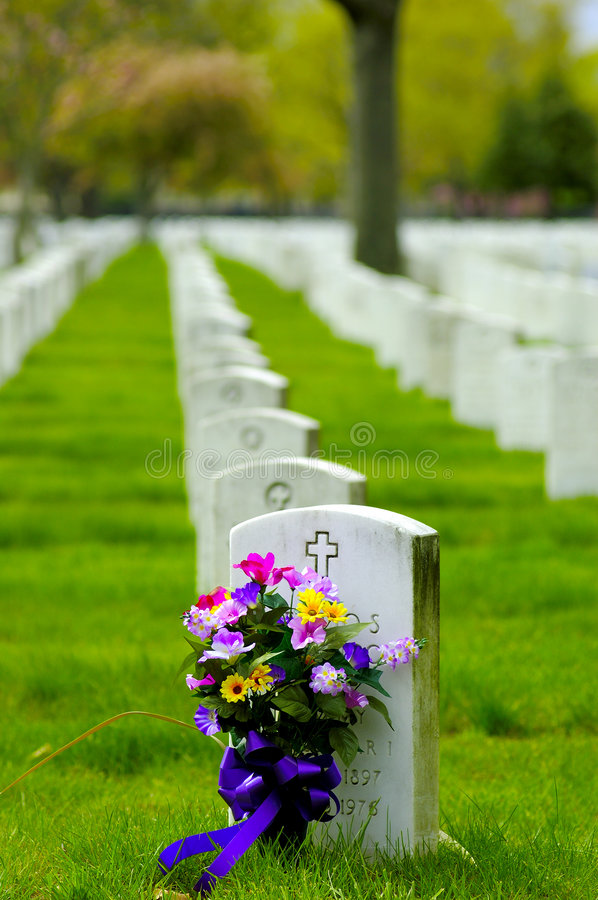 Cemetary 2. Photo of Headstone With Flowers
