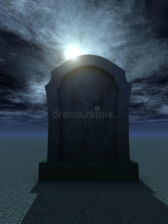 Cemetary. Gravestone with christian cross at night - 3d illustration vector illustration
