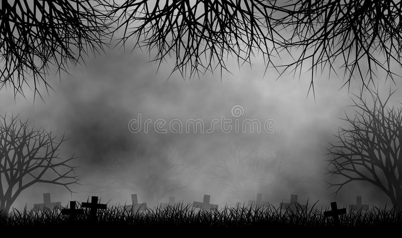 Cemetary in creepy trees forest design background. Horror cemetary in creepy trees forest in foggy day illustration design background vector illustration