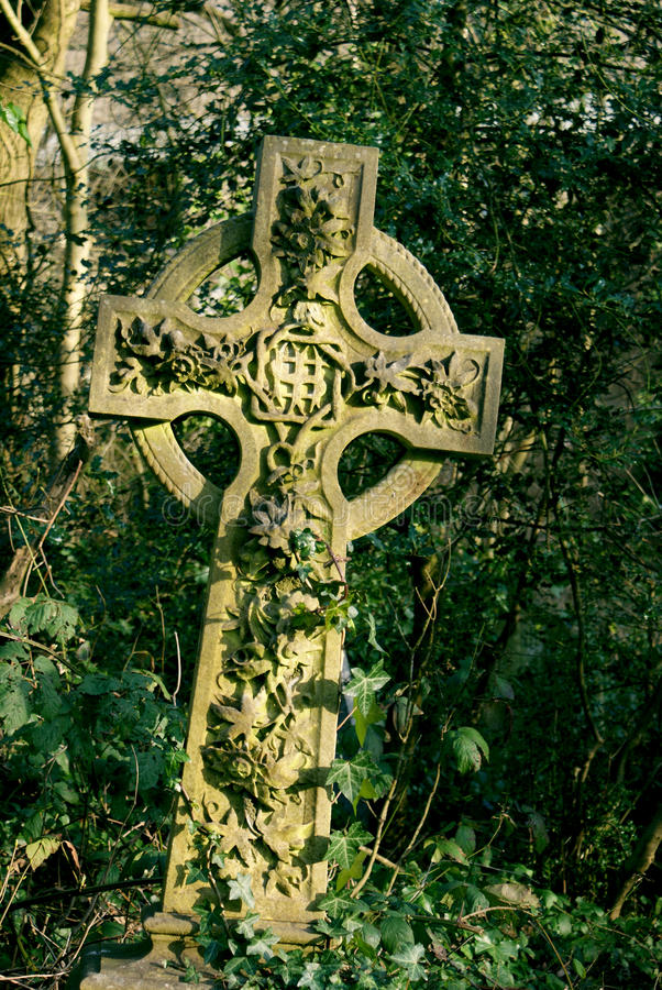Cemetery. Cross with ivy on a cemetery in London stock image