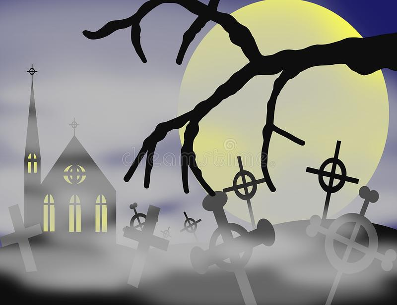 Cemetery at night with full moon