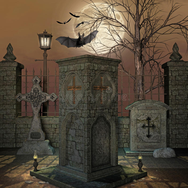 Cemetery. Illustration of a spooky cemetery royalty free illustration