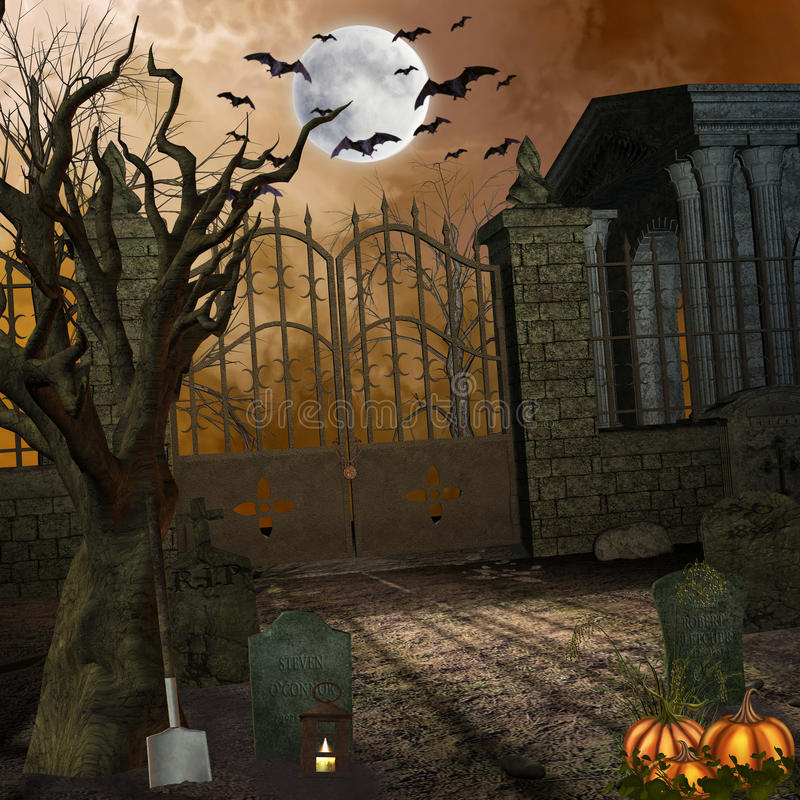 Cemetery. Illustration of a spooky cemetery stock illustration