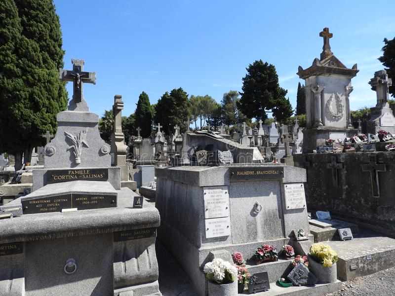 Cemetery in the ancient city of Carcassonne. Cemetery in the ancient city of Carcassonne located in France, with its Catholic Cathedral, the mighty stone walls stock images