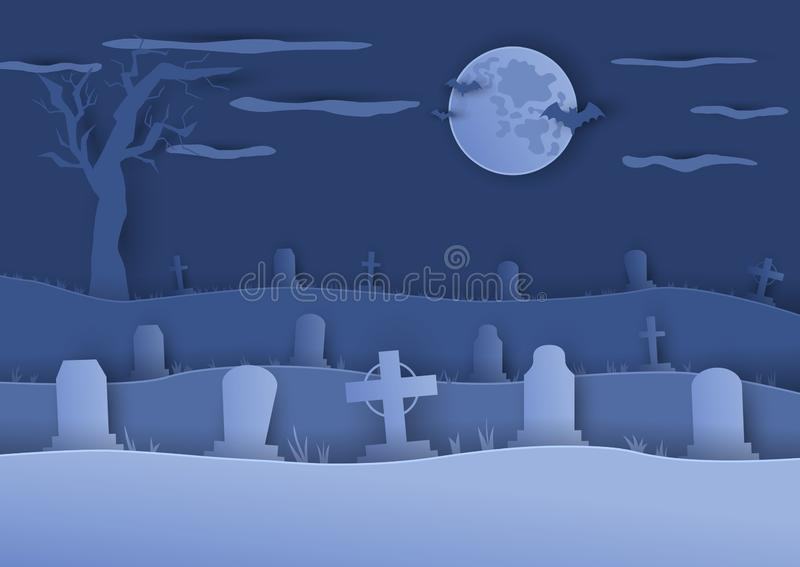 Cemetery background in paper cut art style. stock illustration