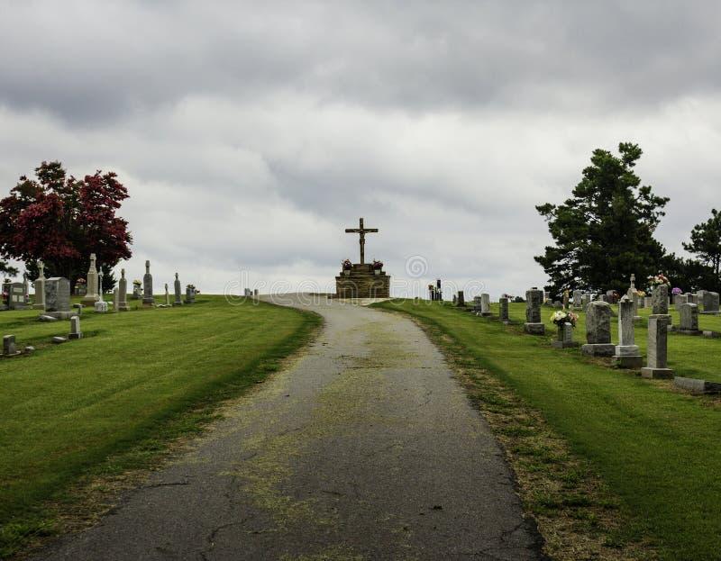 Cemetery in Boston Mountain with crucifix stock photos