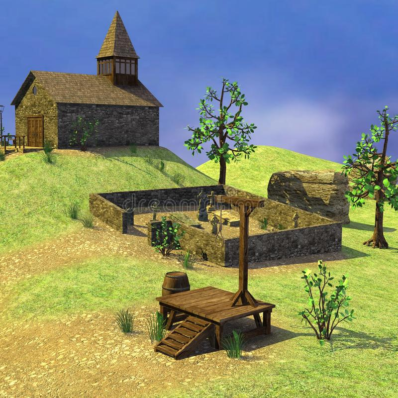 Cemetery and church. 3d render of small medieval village - cemetery and church vector illustration