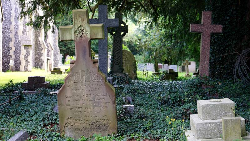 Cemetery, Countryside, Cross stock photo