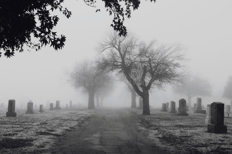 Cemetery. Creepy Cemetery with Fog and Cold stock photo