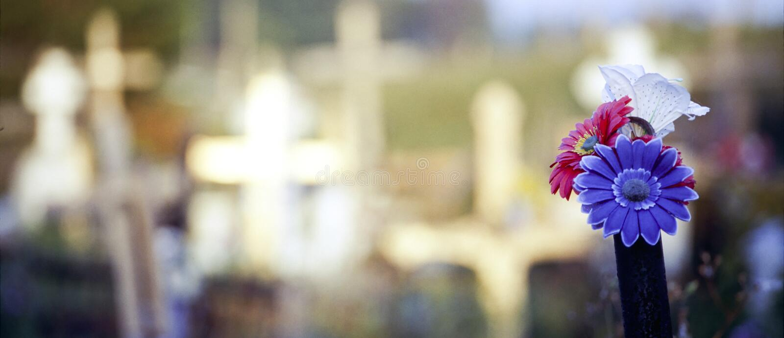 Cemetery Crosses & Flowers. Crosses and flowers in a cemetery royalty free stock image