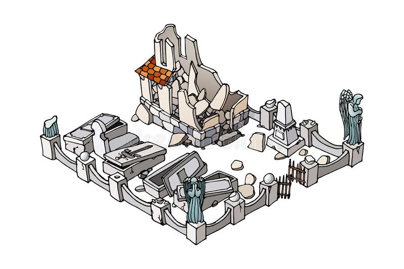 Cemetery crypt. Isometric cartoon building. Isolated on white background. Cemetery crypt ruined. Isometric hand drawn cartoon building. Isolated on white stock illustration