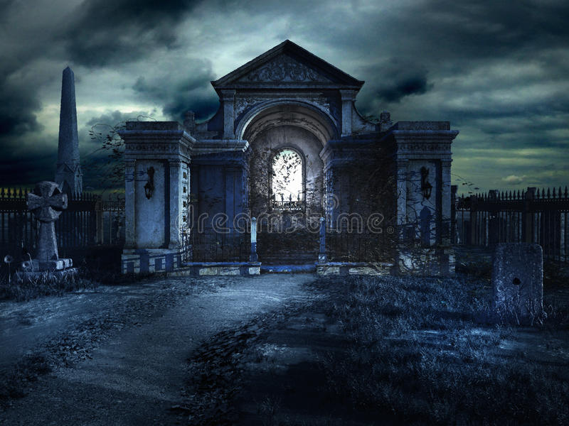 Cemetery crypt at night. Gothic scenery with old cemetery and crypt vector illustration