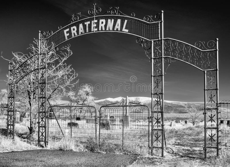Cemetery entrance stock image