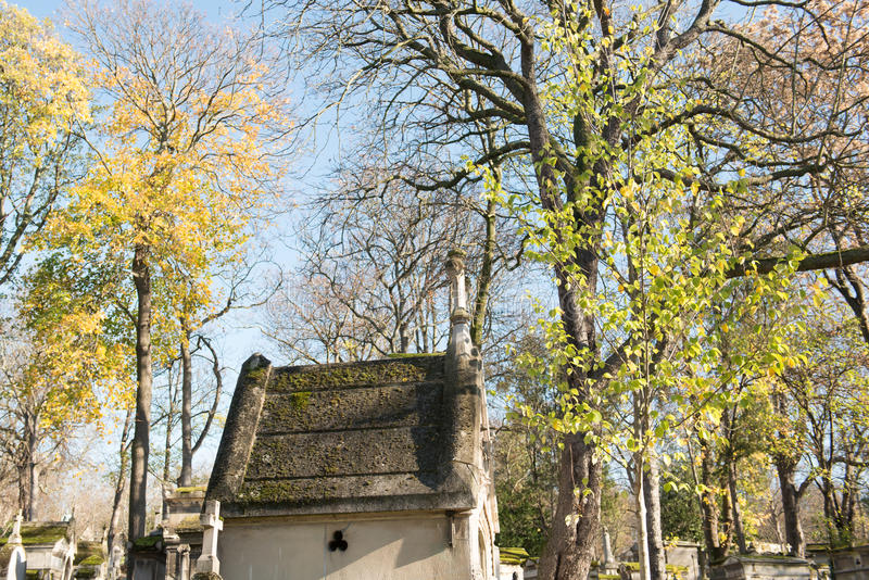 Cemetery in fall stock photography