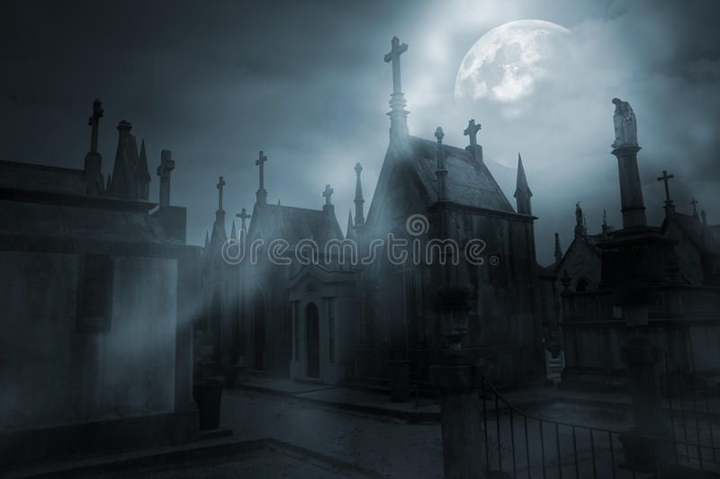 Download Cemetery In A Foggy Full Moon Night Stock Photo - Image of easter, holiday: 76794490