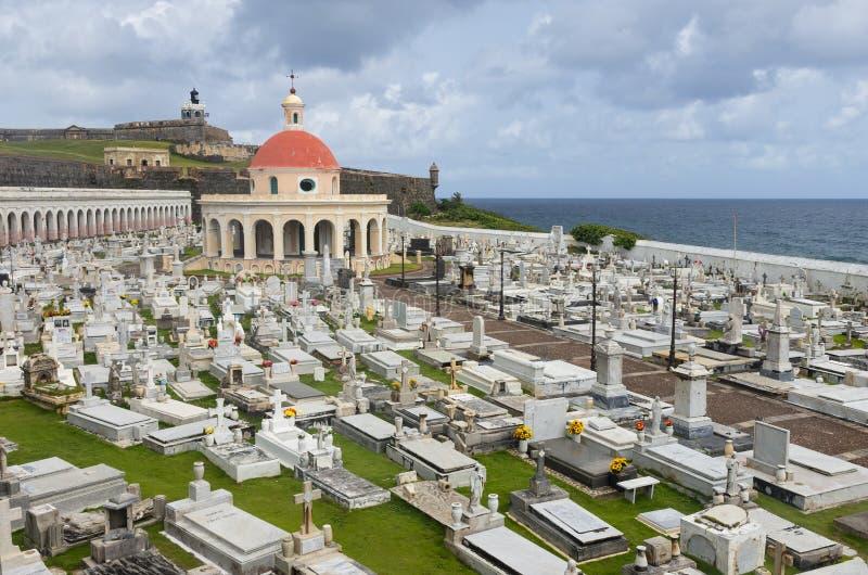 Cemetery and Fortress in Old San Juan. San Juan, PUERTO RICO - August 4, 2018: Santa Maria Magdalena de Pazzis cemetery and El Morro fortress in Old San Juan royalty free stock images
