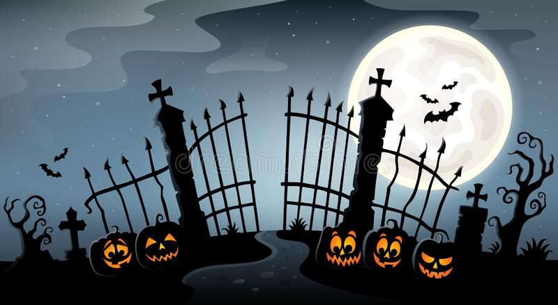 Cemetery gate silhouette theme 4. Eps10 vector illustration stock illustration