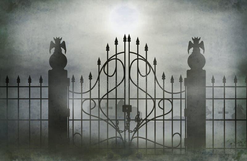 Cemetery gate stock illustration