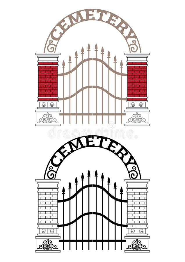 Cemetery Gate Vector. In colour and outline royalty free illustration