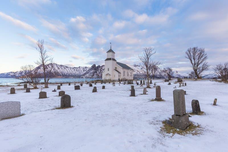 Cemetery of Gimsoy parish church, Lofoten, Norway royalty free stock photos