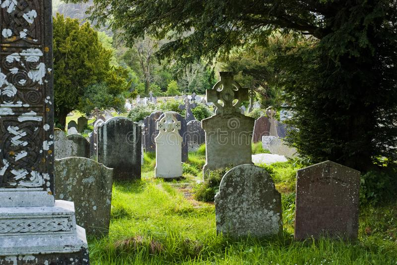 Cemetery in Glendalough, Ireland stock image