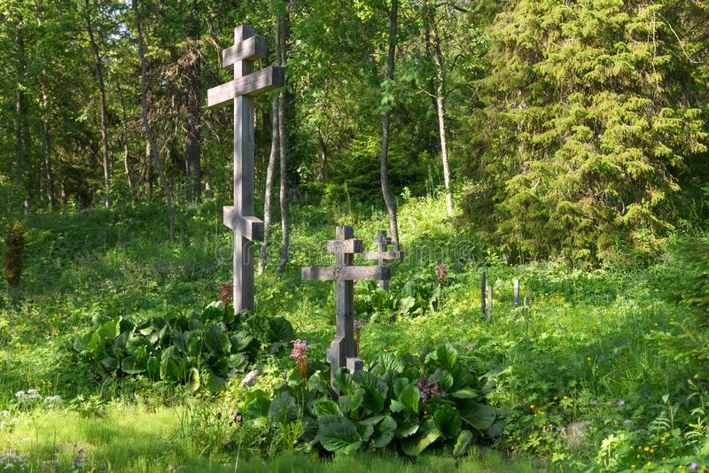 Cemetery in the Golgotha-Crucifix skete. At Mount Calvary on Anzersky Island, Solovki Islands, Arkhangelsk Region, Russia stock photos
