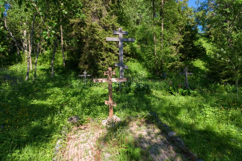 Cemetery in the Golgotha-Crucifix skete at Mount Calvary. On Anzersky Island, Solovki Islands, Arkhangelsk Region, Russia stock image