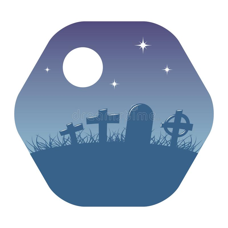 Cemetery or graveyard background with gravestones vector illustration