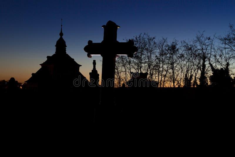 Cemetery graveyard tombstone cross  night, Leuven, Belgium royalty free stock photos