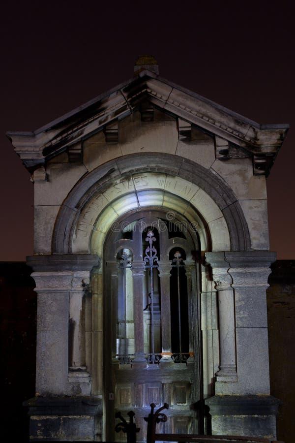 Cemetery graveyard tomb night, Leuven, Belgium stock images