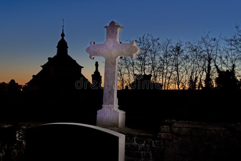 Cemetery graveyard tombstone cross  night, Leuven, Belgium royalty free stock photo