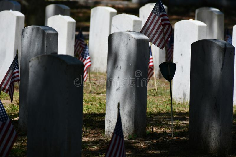 Cemetery Headstone at Savannah Georgia historic cemetery. Granite headstones honoring fallen soldiers featured at the oldest cemetery in Savannah Georgia royalty free stock image