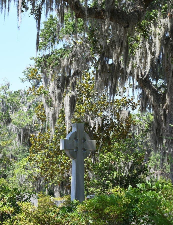 Cemetery Headstone at Savannah Georgia historic cemetery. Granite headstones honoring fallen soldiers featured at the oldest cemetery in Savannah Georgia stock image