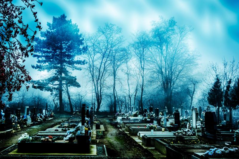 Spooky cemetery in mist. Cemetery in Hungary. It looks super creepy and spooky on this misty November day stock photo