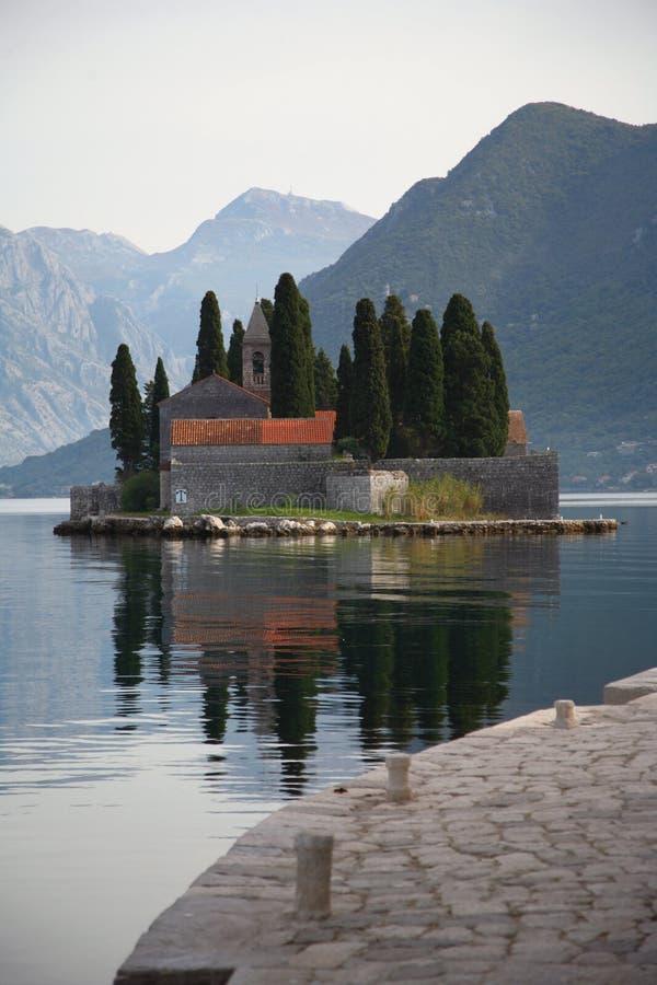Cemetery in Kotor bay stock photos