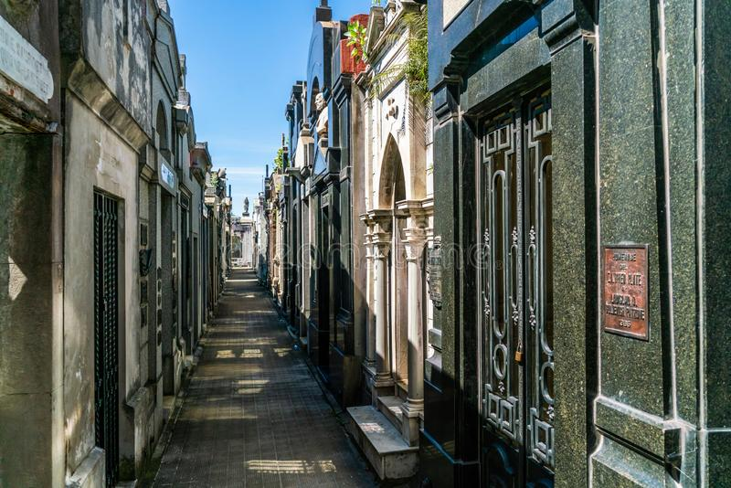 Cemetery of La Recoleta in Buenos Aires stock photography