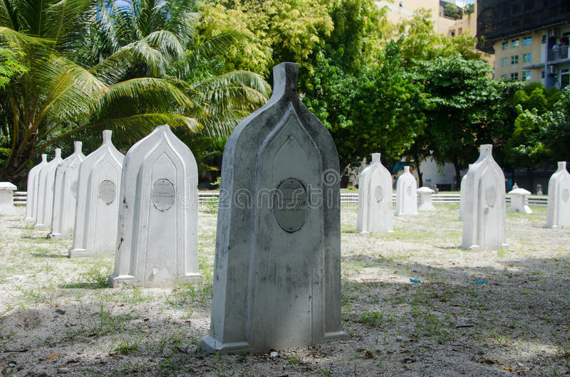 Cemetery at Maldives stock images