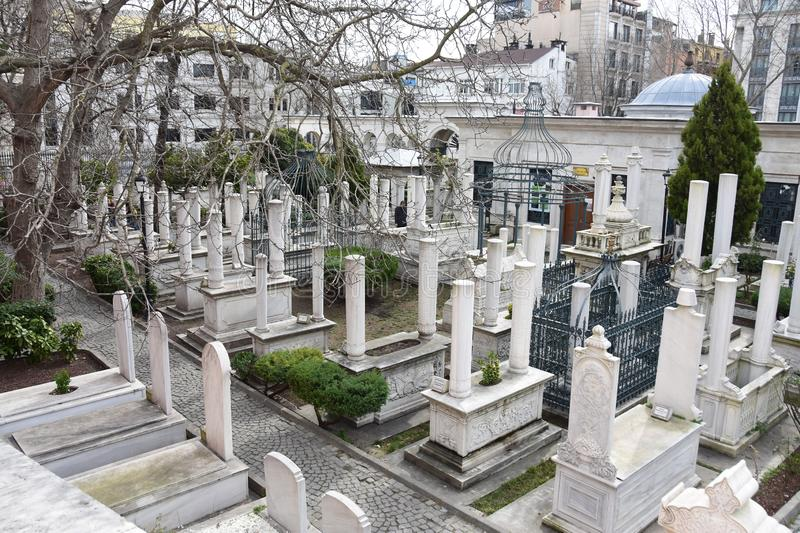 Cemetery near Mausoleum of Sultan Mahmud II in Istanbul. Turkey.  stock photography
