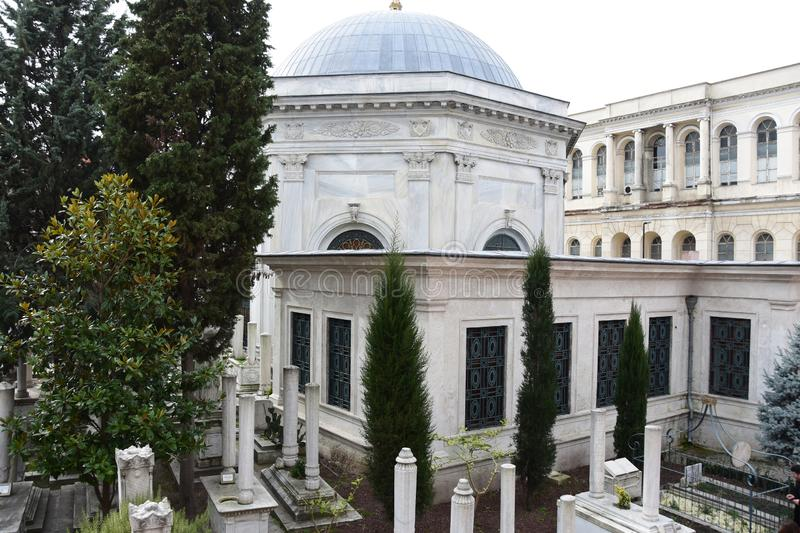 Cemetery near Mausoleum of Sultan Mahmud II in Istanbul. Turkey.  royalty free stock image
