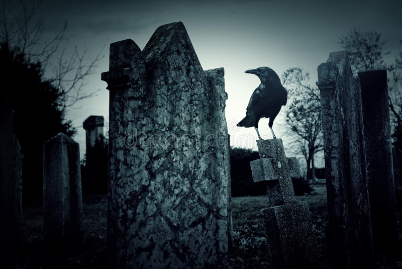 Cemetery night. Haunted and creepy old cemetery at night stock image