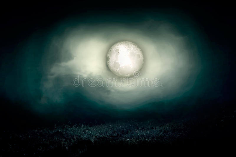 Cemetery night. Night nature and ghost illustration royalty free illustration