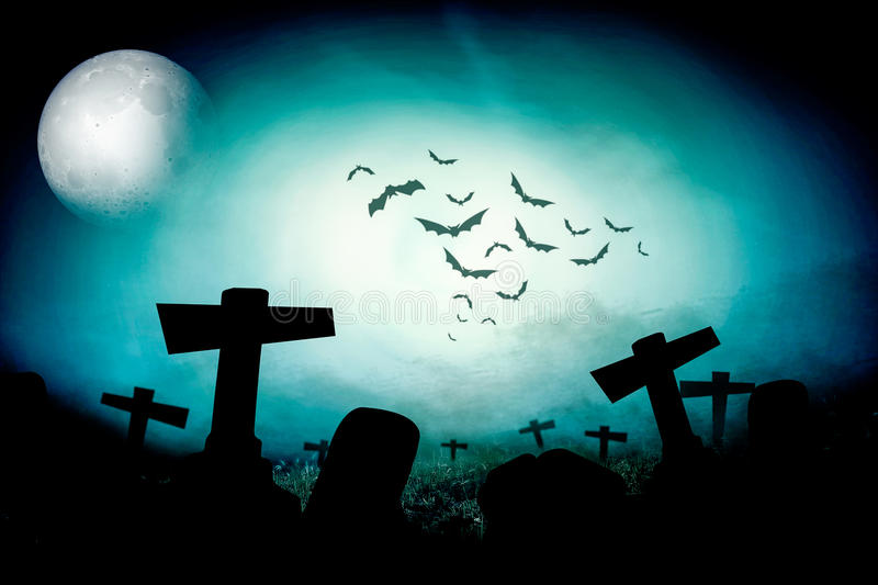 Cemetery night. Night nature and ghost illustration stock illustration