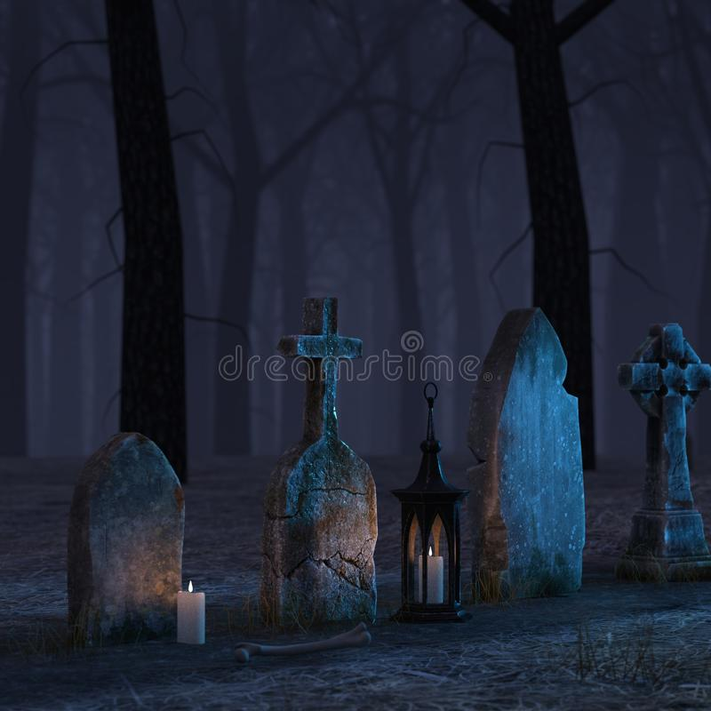 Cemetery night scene 3D,CG royalty free stock image