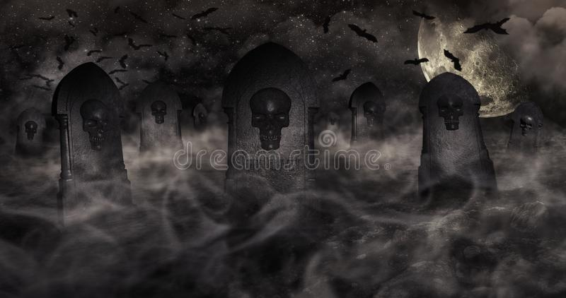 Cemetery At Night With Tombstones With Skulls And Cloudy Sky Full Of Stars in The Background. Halloween Concept 3D illustration. Cemetery At Night With royalty free illustration