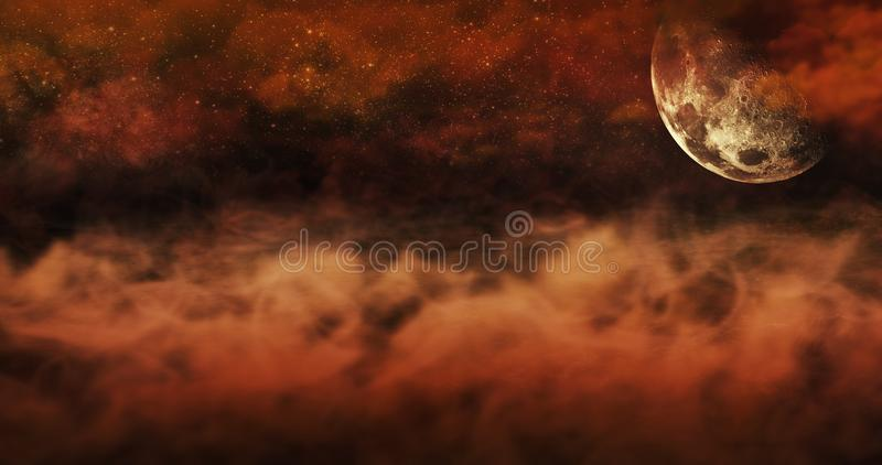 Mist Above The Ground And Burning Sky Full Of Clouds and Stars. Halloween Concept Background 3D illustration. Cemetery At Night With Tombstones With Skulls And stock illustration