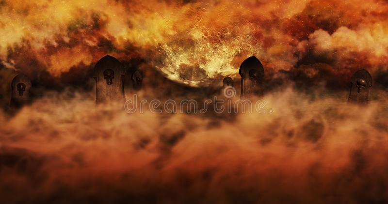 Cemetery At Night With Tombstones With Skulls And Burning Sky Full Of Clouds and Stars in The Background. Halloween Concept 3D il. Cemetery At Night With royalty free illustration