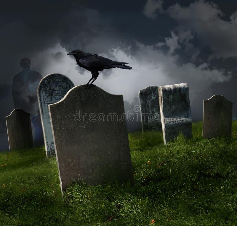 Cemetery with old gravestones stock image