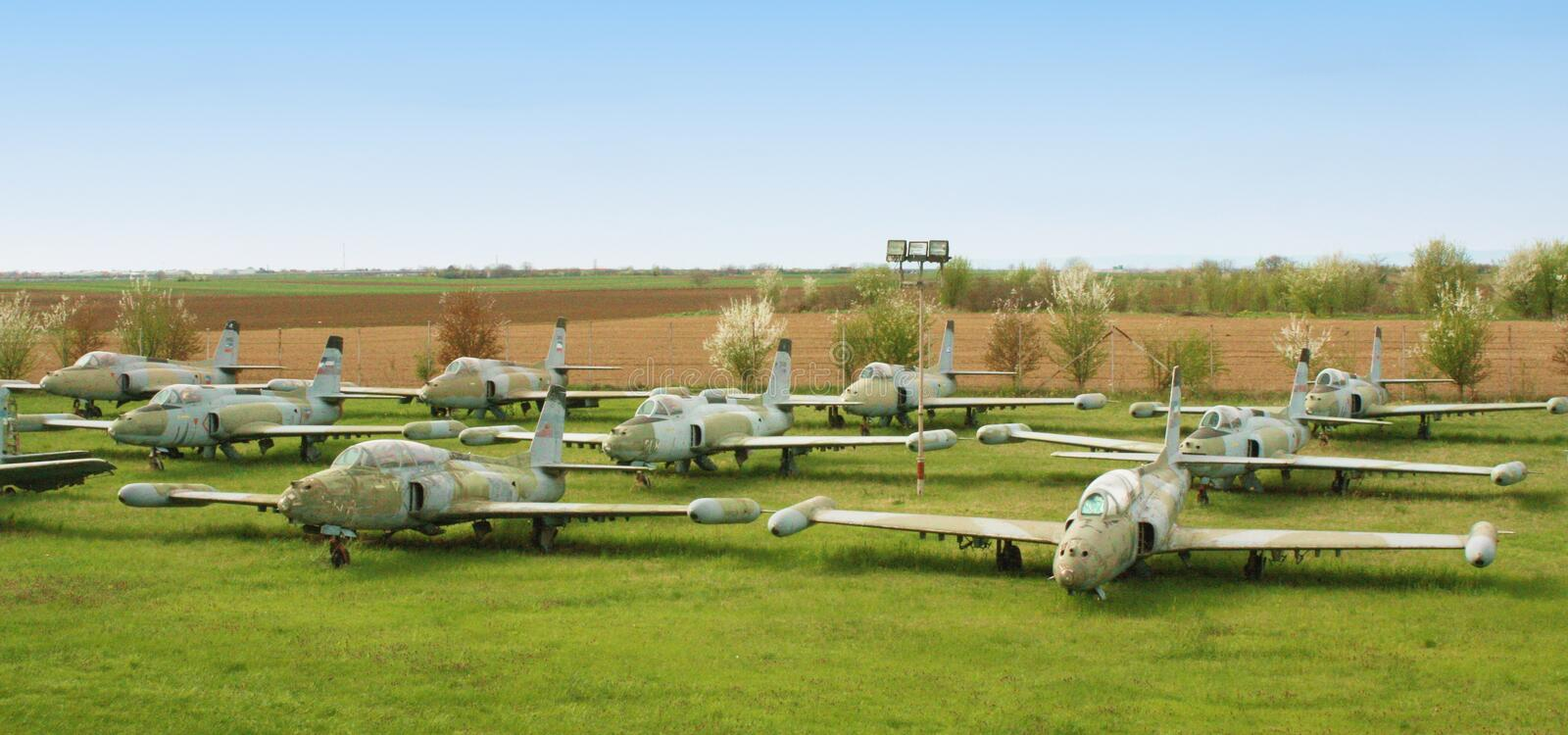 Cemetery of old military aircraft stock photography