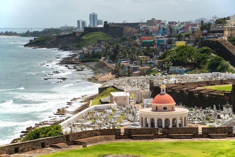 Cemetery of Old San Juan, Puerto Rico. Cemetery and coast view of Old San Juan, Puerto Rico stock photography